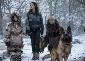 "EMERALD CITY -- ""The Beast Forever"" Episode 101-- Pictured: Adria Arjona as Dorothy, Toto -- (Photo by: David Lukacs/NBC)"