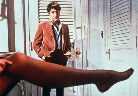 "** FILE ** Dustin Hoffman looks at the stockinged leg of actress Anne Bancroft, his seductress in this scene from the 1967 film ""The Graduate."" Bancroft, who won the 1962 best actress Oscar as the teacher of a young Helen Keller in ""The Miracle Worker"" but achieved greater fame as the seductive Mrs. Robinson in ""The Graduate,"" has died. She was 73. She died of cancer on Monday, June 6, 2005, at Mount Sinai Hospital, in New York, John Barlow, a spokesman for her husband, Mel Brooks, said Tuesday, June 7, 2005.  (AP Photo/File)   Original Filename: OBIT_BANCROFT_NY125.jpg"